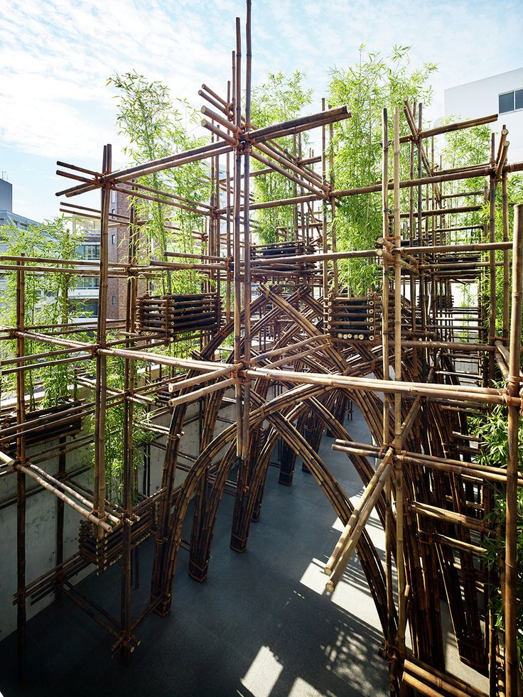 """Completed in 2015 in Tokyo, Japan. Images by Yoshifumi Moriya. This bamboo pavilion is constructed for the 30th anniversary exhibition """"The Asian Everyday: Possibilities in the Shifting World"""" at TOTO GALLERY MA,..."""