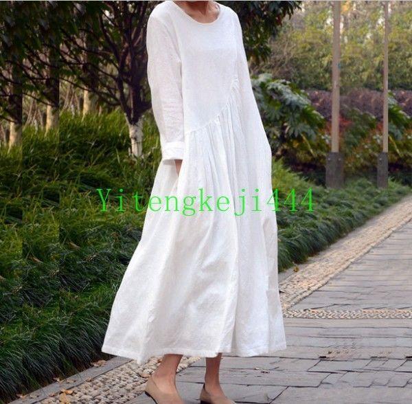 Vintage Women's Caftan Short Sleeves Cotton Linen Loose Maxi Dress robe Oversize