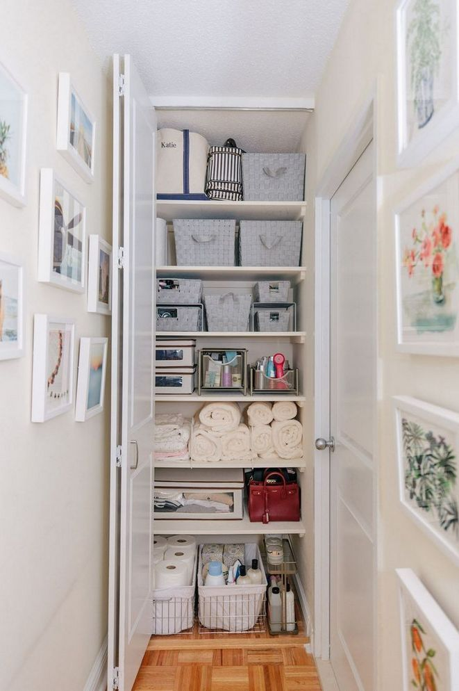 45 Whispered Bathroom Storage Ideas For Small Spaces Cabinets Linen Closets S Bathroom Closet Organization Storage Closet Organization Closet Organization Diy