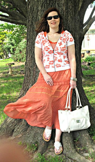 Orange Bohomeian Skirt... Over 40 fashion blogger
