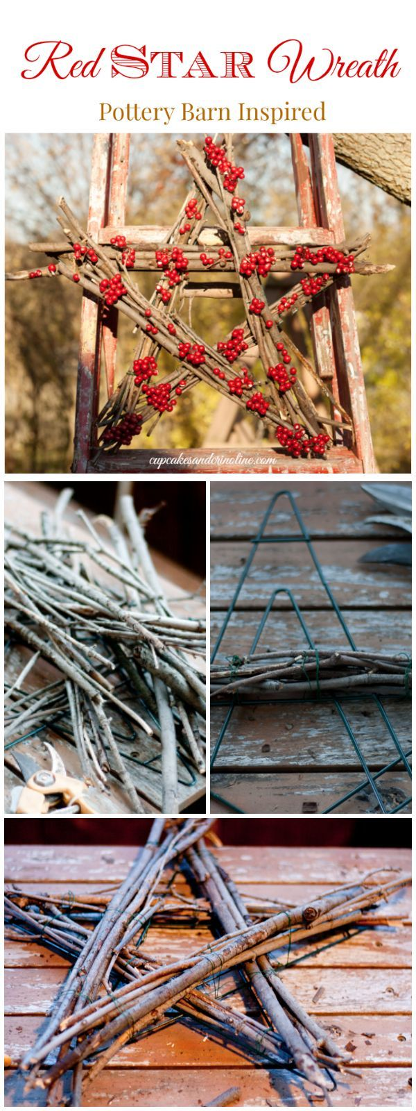 Twig and berry star wreath - very easy to make and a wonderful rustic addition to Christmas decor - Pottery Barn Inspired from cupcakesandcrinoline.com
