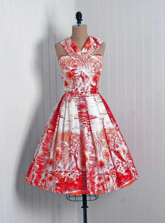 1950's Cotton Sundress made by Stan Hicks of Honolulu