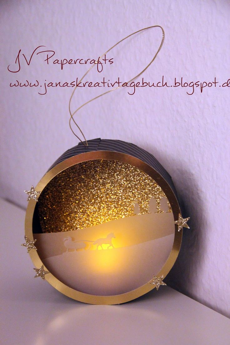 JV Papercrafts: Laterne mit LED-Teelicht. Sleigh Ride Edgelits by Stampin up