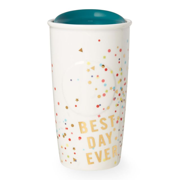 A double-walled ceramic mug with a flutter of confetti and a good attitude, part of the Starbucks Dot Collection.