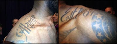 """... new tattoos of LeBron James on his shoulder - """"Akron"""" and """"Est. 1984"""