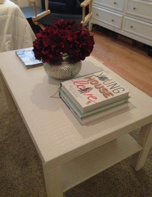 Lack Hack!  IKEA coffee table covered with faux alligator fabric.