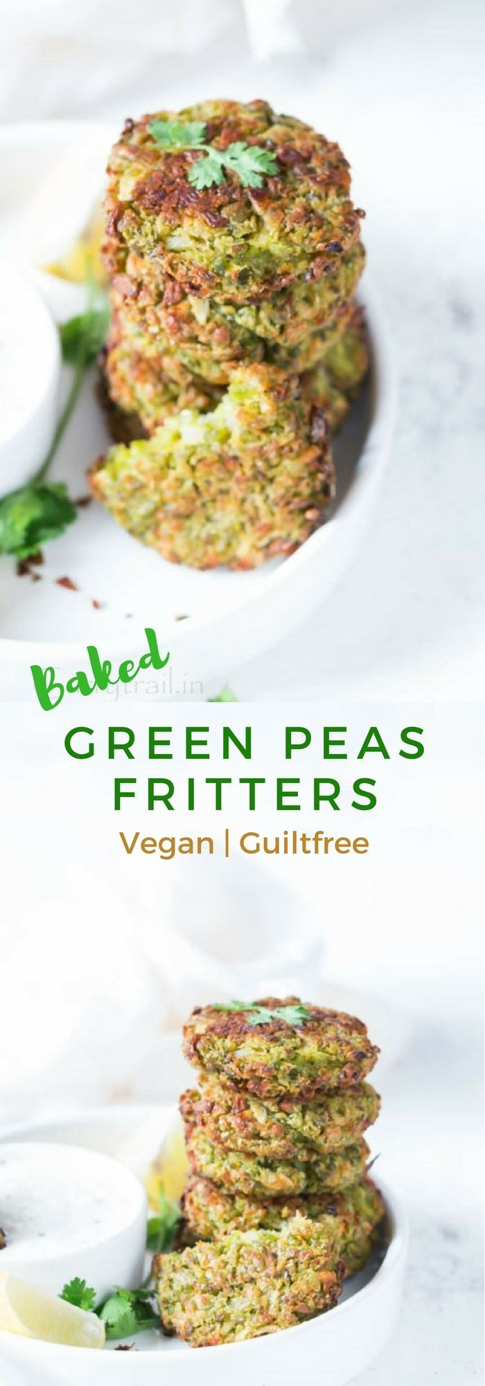 Baked Green Peas Fritters BAKED GREEN PEAS FRITTERS ARE GREEN GOODNESS PACKED WITH FLAVORSWITH A PERFECT CRUNCH ELEMENT OUTSIDE, AND SOFT SLIGHTLY CRUMBLY TEXTURE. THIS MUNCH-ON-ANY-TIME-OF-THE-DAY SNACK TICKS ALL THE RIGHT BOXES ON YOUR HEALTH CHART. IT'S SO GOOD FOR YOU THAT YOU CAN LITERALLY HAVE MORE THAN A FEW AND SATISFY YOUR CRAVINGS.