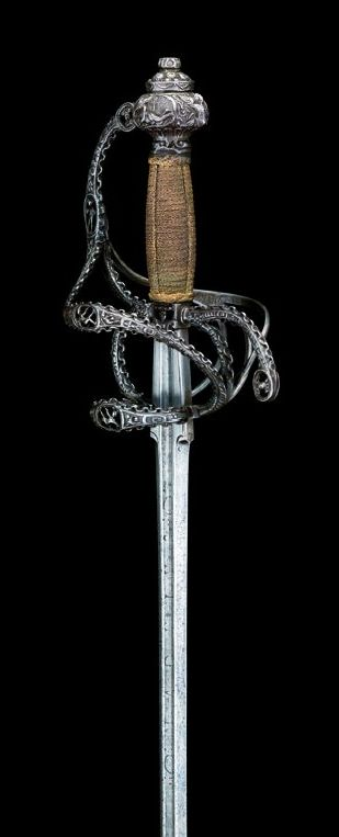 A COMPOSITE RAPIER IN THE MANNER OF CLAUDE SEVIGNY OF TOURS, LATE 16TH CENTURY AND LATER.