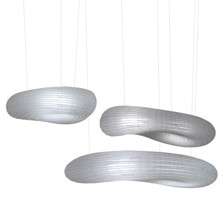 "The Cloud Suspension Lamp is part of the ""Spiral Islands"" collection.  The hanging lights are made from cnc cut strips of polycarbonate or petg plastic, fastened with aluminum rivets.  The petg plastic is recyclable (made from plant material).  Light source is low energy compact fluorescent bulbs in a cluster of 4.  UL listed. Available in 3 sizes. http://www.switchmodern.com/Suspension-Lamps/David-Trubridge-Design-Cloud-Suspension-Lamp.asp"