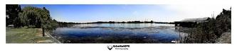 8 image panoramic shot of a lake
