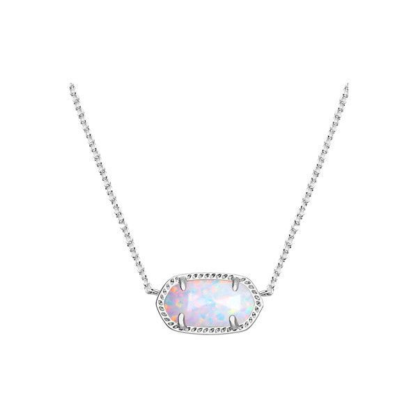 Kendra Scott Elisa Silver Pendant Necklace in White Kyocera Opal ($85) ❤ liked on Polyvore featuring jewelry, necklaces, white opal necklace, white opal pendant, silver statement necklace, silver pendant necklace and silver chain necklace