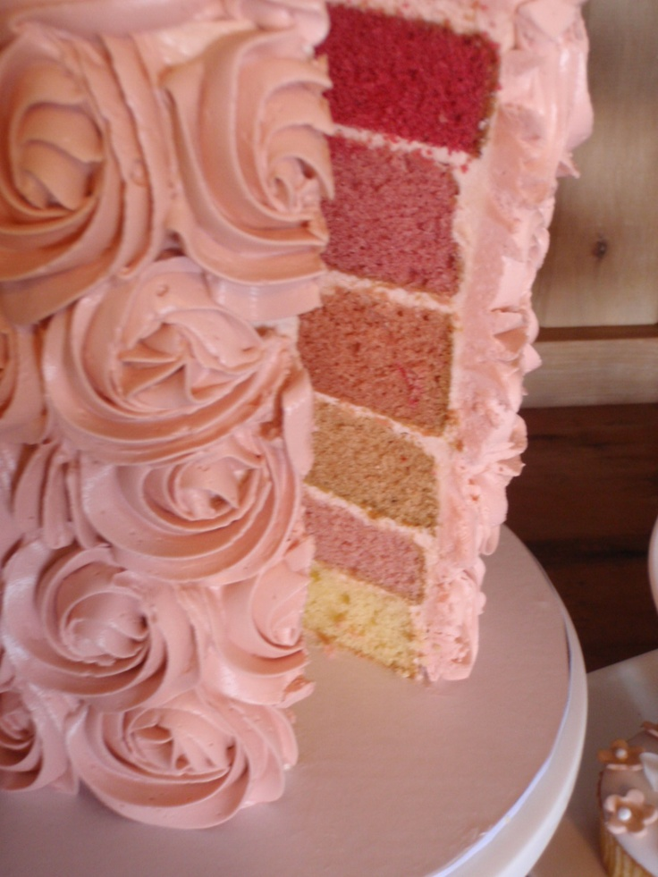 Swiss Meringue Buttercream with ombre pink layers