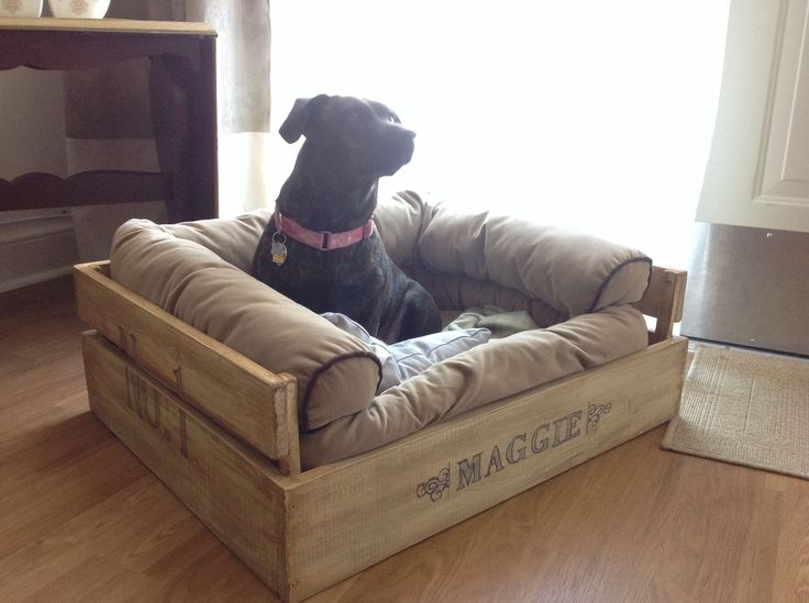 DIY comfy crate dog bed. Just write the name on with a black sharpie. Soft bed holds its shape!