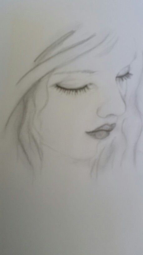 Little girl looking downwards - in graphite