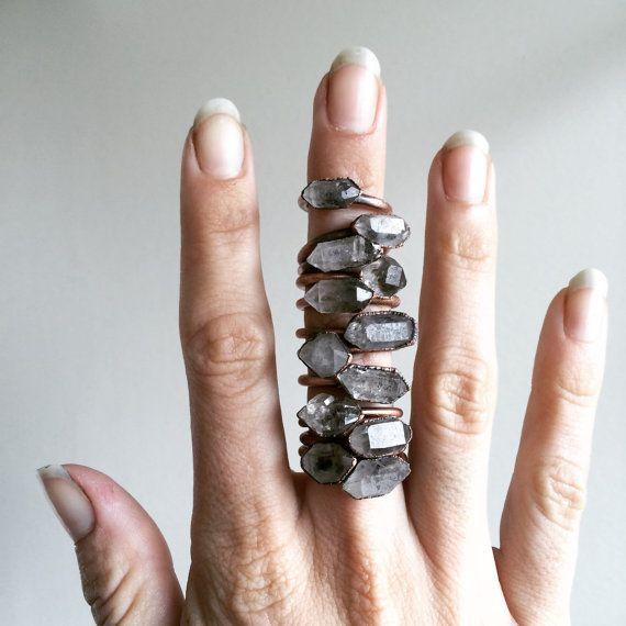 Tibetan crystal ring Raw anthraxolite crystal ring by HAWKHOUSE