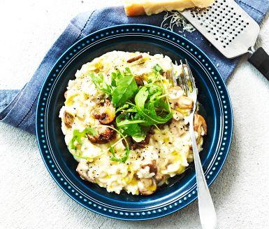 Recept: Svamprisotto med purjolök och rucola