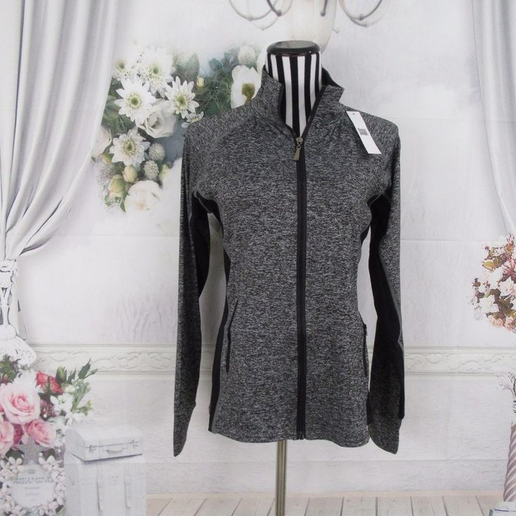 Black Gray Full Zip Yoga Workout Jacket Size S #Unbranded #CoatsJackets