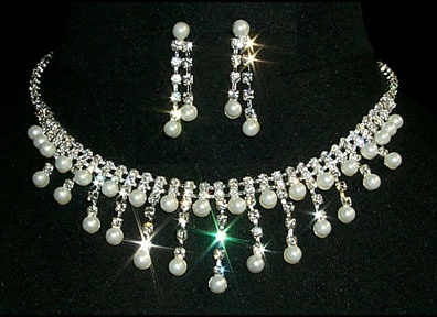 Titanic Jewelry Countess of Rothes Crystal Dinner Necklace & Earrings Set