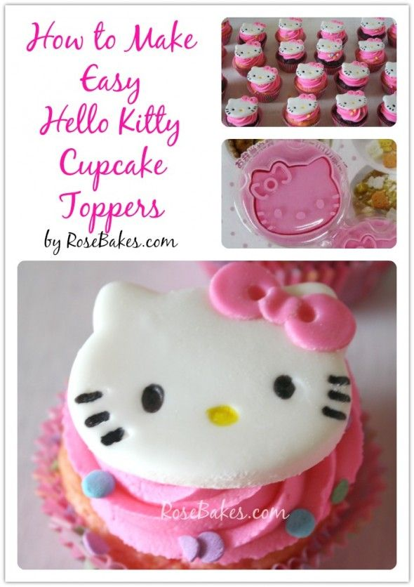 I know a little girl with a birthday coming up...  -- How to Make Easy Hello Kitty Cupcake Toppers