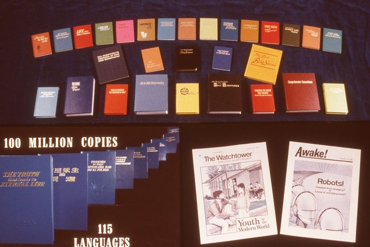Various publications produced by Watchtower Society; now printed in 174 languages. 1982