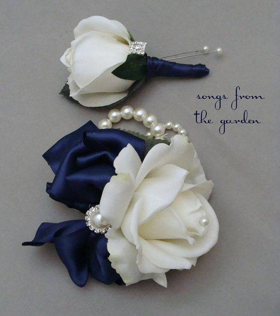 White and Navy Real Touch Rose Wedding by SongsFromTheGarden, $35.00