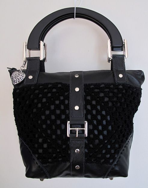 Black leather and crochet detail handbag with wooden handle