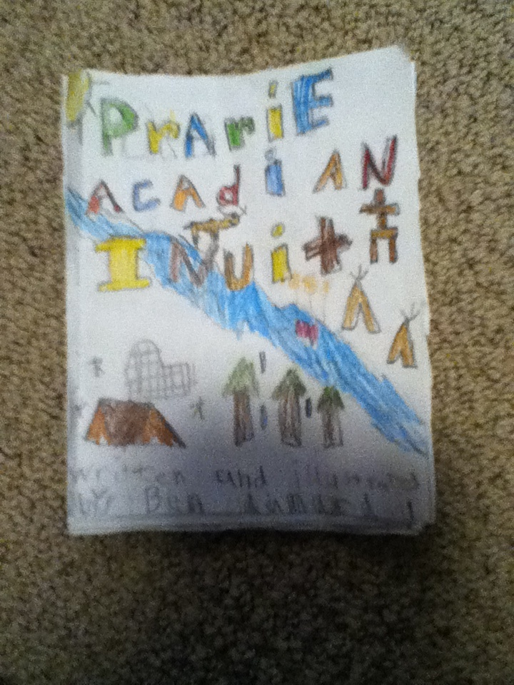 A book made in school about iqaluit meteghan  and Saskatoon