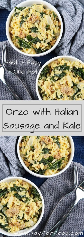 Creamy and Cheesy Orzo Pasta with Italian Sausage and Kale. An easy and filling meal that is made in one-pot and ready in 25 minutes.
