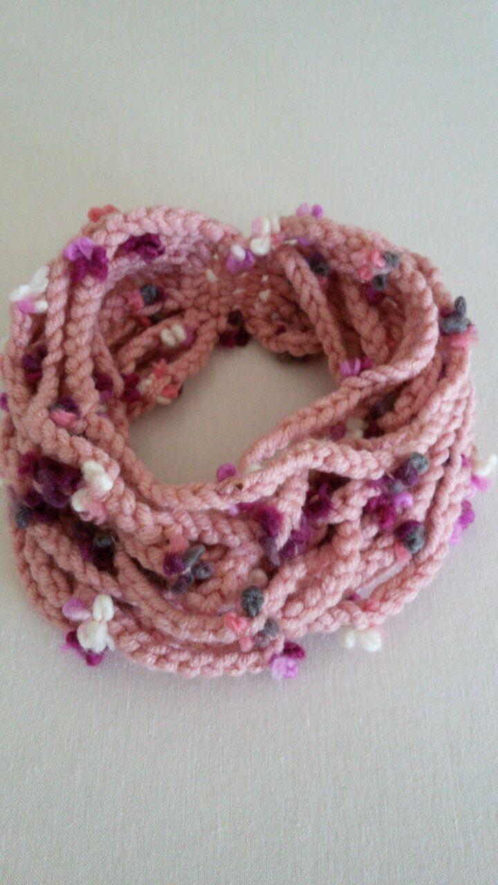 Alize Maxiflower 2-4 yaş boyunluk. 6 nolu tığ. Toddler crochet neck wormer cowl