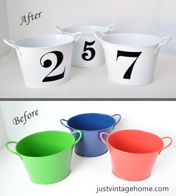 Dollar Tree buckets to Chic Decor - Vinyl numbers on painted tin buckets : Just Vintage Home