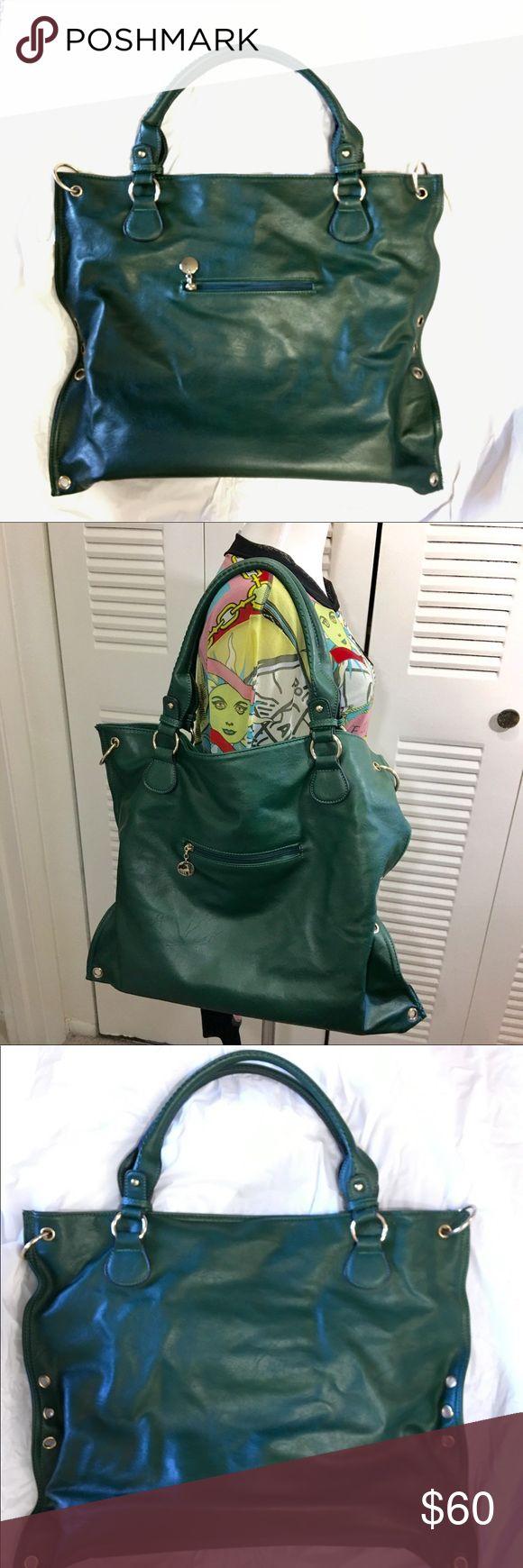 """Donna Bella Designs X-Large Tote Shoulder Bag Green leather with silver metal hardware. Outside zip pocket. Top zip inside 2-slip pockets & Bottom Zip. Clean & great condition. Height 17"""" length 20.5"""" depth 6.5"""" Drop 9"""" Donna Bella Designs Bags"""