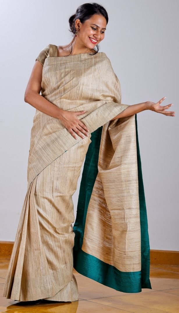 Tussar Saree with sea blue silk facing with screen printed (geometric) silk blouse.  SHOP AT www.ubikaa.com