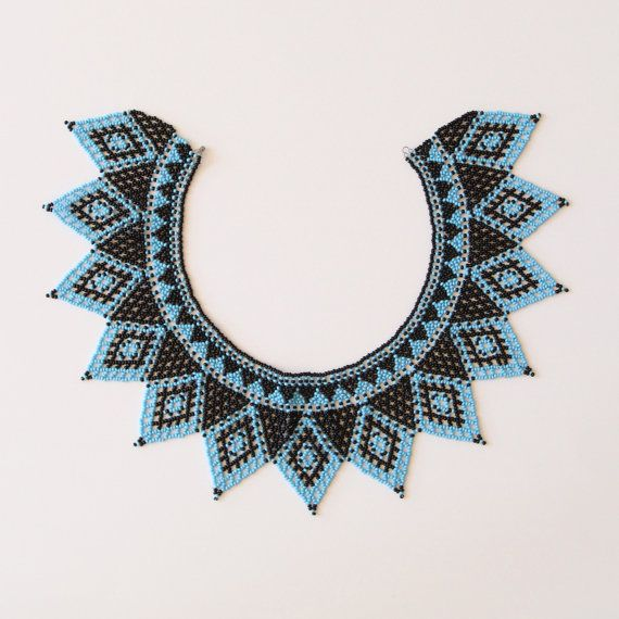 Vintage Blue and Black Beaded Collar by salvagelife on Etsy, $75.00
