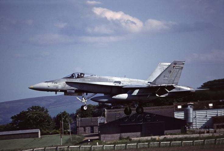 Tail Number (736): Canadian Hornet landing at RAF Lossiemouth, Scotland (UK) in 2003 (CF-18A: Single-Seat) by TF102A at Flickr