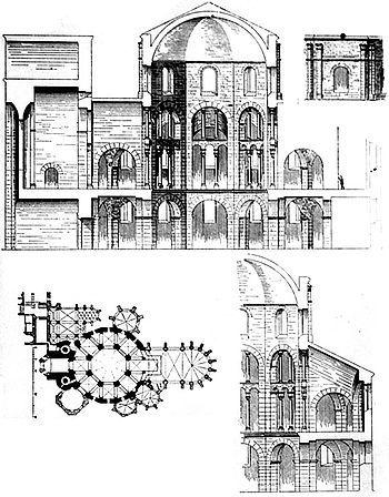 Esquisses de différentes parties de la chapelle palatine d'Aix-la-Chapelle, ainsi qu'un plan du plancher.