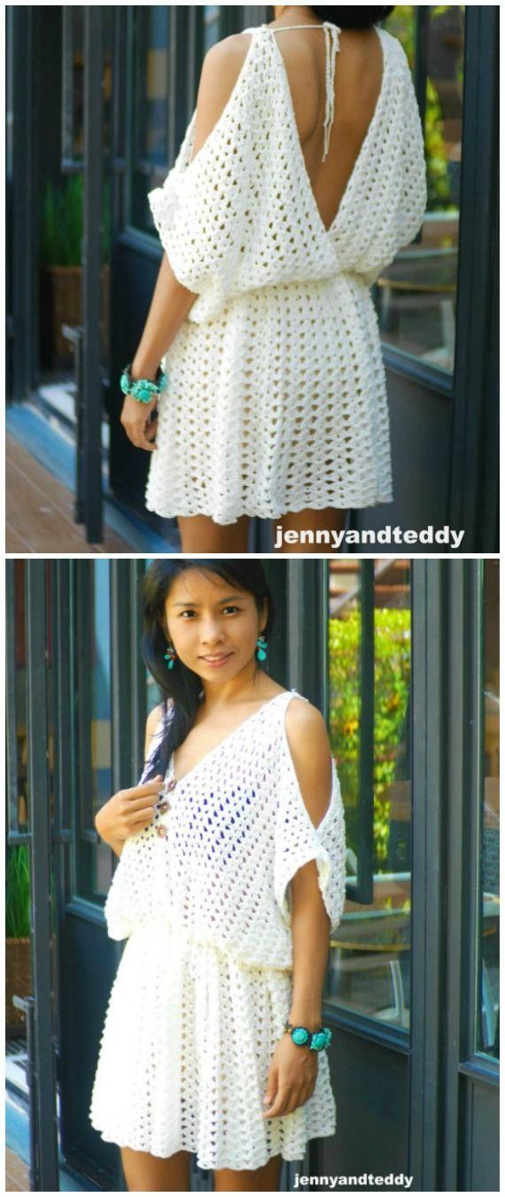 White Hippie BOHO Minikleid Crochet Free Pattern – Women #Dress; Kostenlos #Crochet …   – otantik giyim