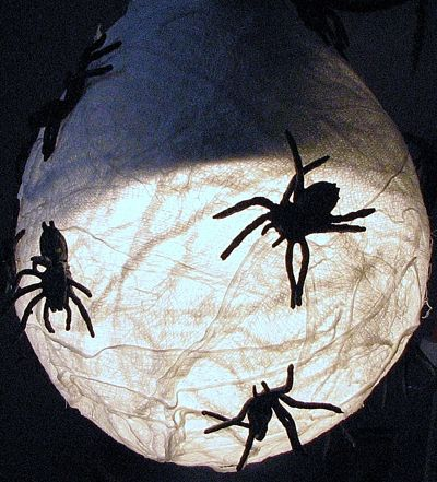The magic of Halloween happens outside, at night; right? I made this easy decoration to go over the globe of the porch light. You can too for almost nothing!