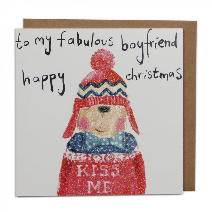 Fabulous boyfriend bear Christmas card