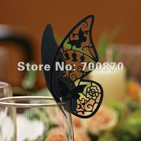 EC1108 08 12pcs/pack Laser Cutting Butterfly Place Card in Colourful(black, silver, red, light pink, pink)-in Event & Party Supplies from Home & Garden on Aliexpress.com