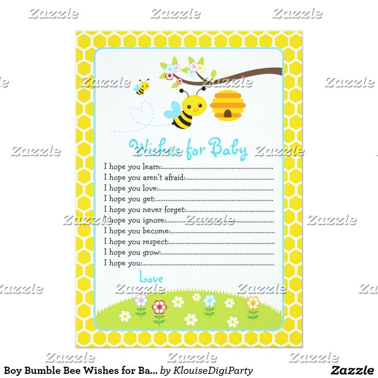 Boy Bumble Bee Wishes for Baby Advice Card