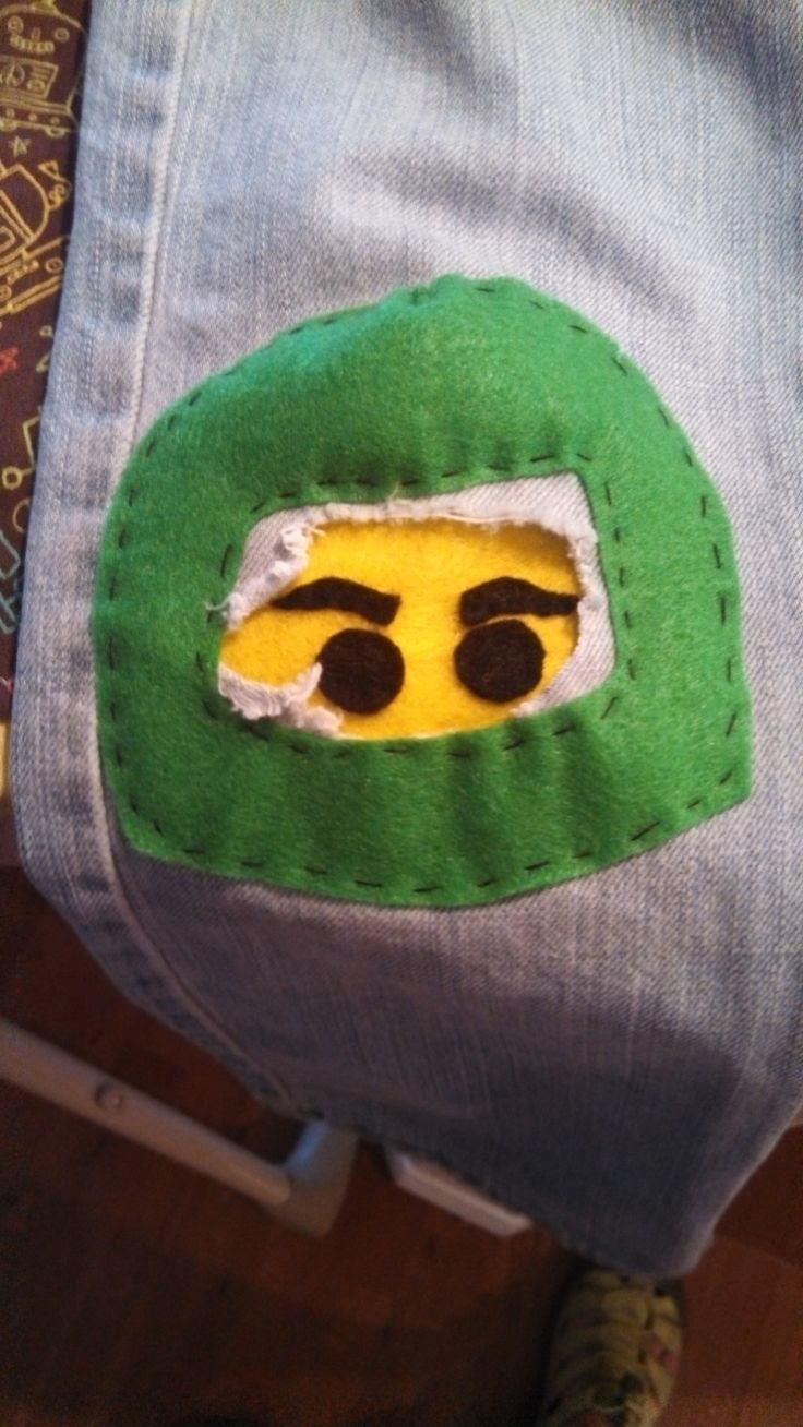 Made a Ninjago knee patch for my son. Cost: $.56!!!!!!