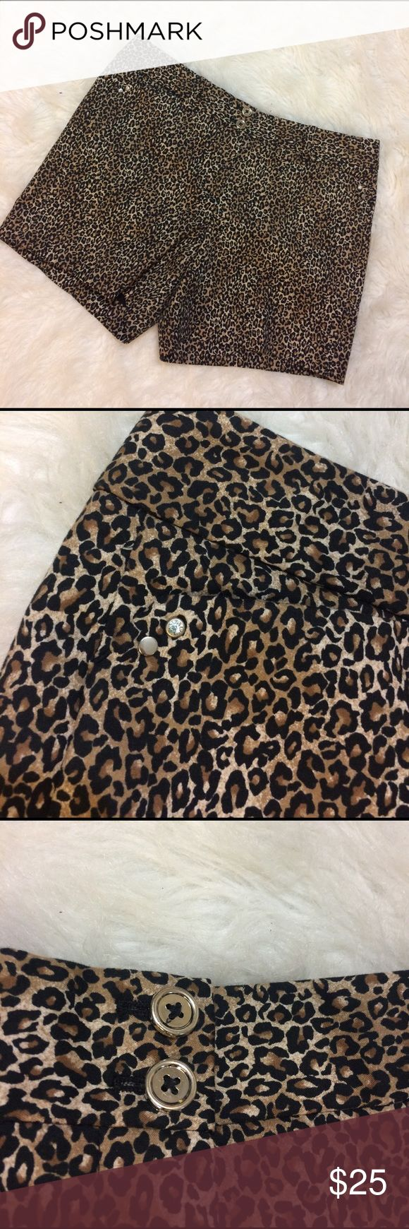WHBM Cheetah Shorts w rhinestone accents So fierce! Little cheetah shorts by White House Black Market with studs and rhinestones on the pockets.  Size 4  excellent condition White House Black Market Shorts