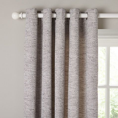 John Lewis Boucle Texture Lined Eyelet Curtains, Grey