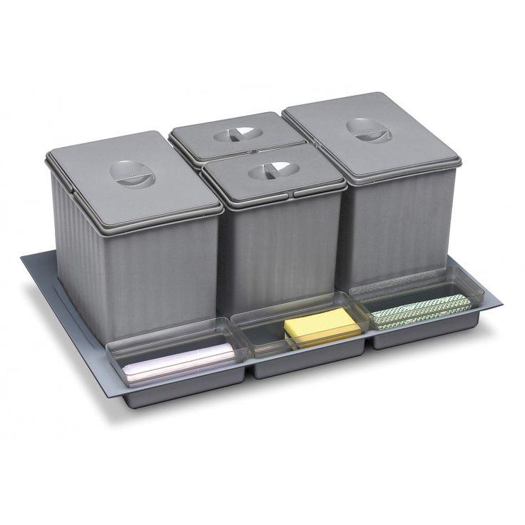 CUBOS RECICLAJE PARA CAJÓN 16+16+7,5+7,5L- 100.37€ - Compuesto de 4 cubos gris con asas y tapas + bandeja inferior recortable para un mayor ajuste al cajón + 3 cubiletes de plástico para ubicar guantes, esponjas y otros accesorios ubicados bajo el fregadero. Espacio adicional en el lateral destinado a guardar las bolsas de basura. Ideal para separar la basura orgánica, el plástico, el papel y el vidrio.
