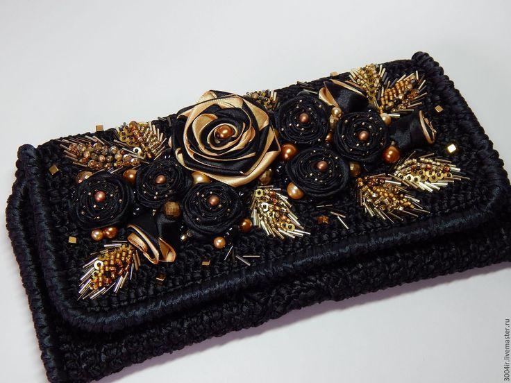 """Купить Клатч """"Золотая роза"""" из атласных лент. - черный, цветочный, клатч ручной работы"""