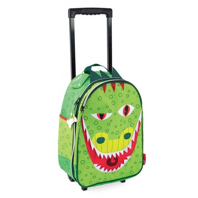 Janod Kids Luggage Suitcase Trolley, Dragon T-Rex Dino