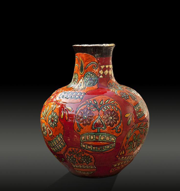 by Lucinda Mudge, for more please visit www.finearts.co.za   #pottery #skulls #art #vases #create