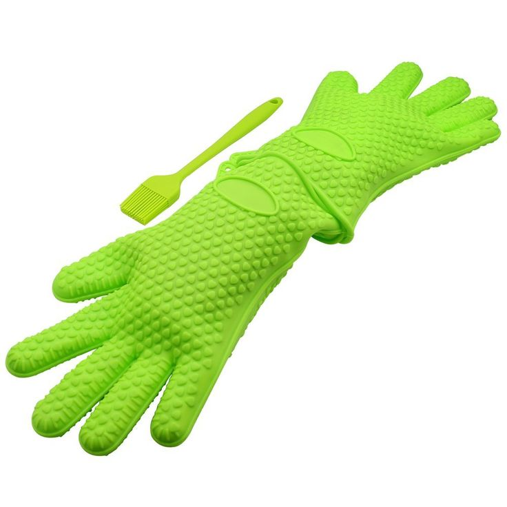 #Silicone Heat Resistant Grilling #BBQ #Glove Set with a BBQ Grill Silicone #Basting #Brush -- Use As Potholder - #ProtectiveOven, #Grill, Baking, Smoking and Cooking Gloves
