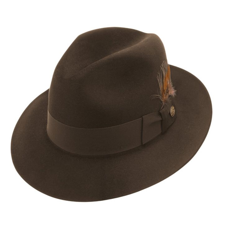 Stetson Firenze -  Fur Fedora Hat $233.98   Stir up a real frenzy in the Firenze fur fedora. This silk finished Stetson hat will have people asking where you got such a unique hat. Tell em Hatcountry and to get their own, because you don't share. But be sure to share this secret with all your friends. This hat features a grosgrain ribbon hat band and feather.