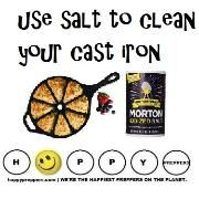 How to clean your cast iron: Scrub with salt (never dishwashing soap): http://happypreppers.com/Lodge.html